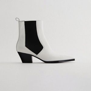 Zara white leather heeled cowboy ankle boots
